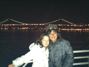 Me and my daughter, on the boat's top deck